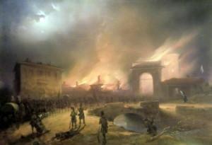 Ústup rakouského vojska z Milána branou Porta Tosa (dnes Porta Vittoria) 22. března 1848
