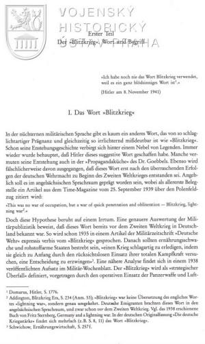 Začátek úvodní kapitoly o významu a genezi pojmu Blitzkrieg.