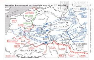 Plán pohybu fronty ve Francii mezi 10. a 20. květnem 1940.