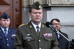 Náčelník Generálního štábu Armády České republiky, armádní generál Josef Bečvář při úvodním projevu k výstavě
