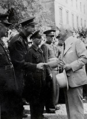 Karel Martinek v červenci 1946 při návštěvě prezidenta Edvarda Beneše v Místku