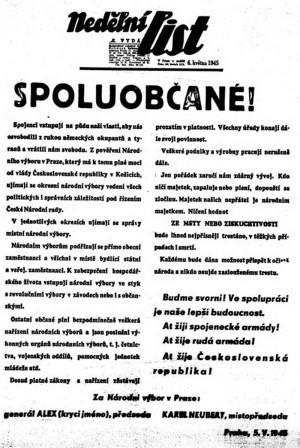 Provolání Národního výboru v Praze na titulní straně Nedělního listu z 6. května 1945.