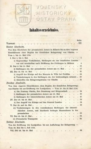 Obsah knihy – první strana.