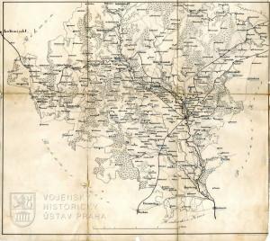 Mapa Olomouckého kraje, hlavního bojiště moravského tažení roku 1758.