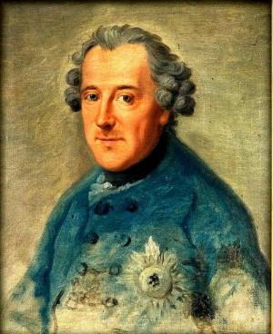Pruský král Friedrich II. na portrétu z roku 1763