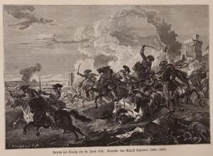Bitvení výjev ze boje u Domašova nad Bystřicí 30. 6. 1758