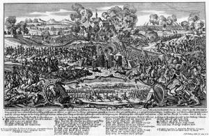 Boj u Domašova na soudobé rytině, ve vedutě dole uprostřed s pohledem na obléhanou Olomouc