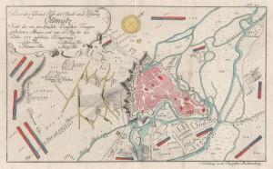Plánek obléhání Olomouce na soudobém vyobrazení