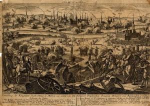 Obléhání a bombardování Olomouce na soudobé rytině