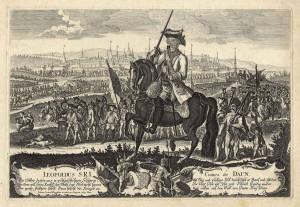 Polní maršál Leopold hrabě Daun, coby osvoboditel města, v čele tereziánské armády před Olomoucí počátkem července 1758