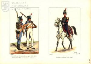 Nalevo uniformy bernské Standes-Kompanie z období napoleonských válek, napravo důstojník dělostřelectva z 50. let 19. století.