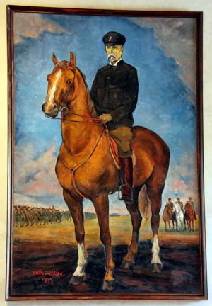 Obraz TGM vévodí celému prostoru výstavy
