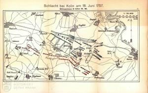 Plánek bitvy zachycující bojovou situaci ve 14.00.