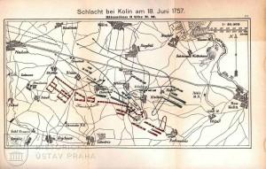 Plánek bitvy zachycující bojovou situaci v 15.00.