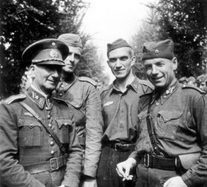 Major Veselý s důstojníky Vládního vojska v Itálii