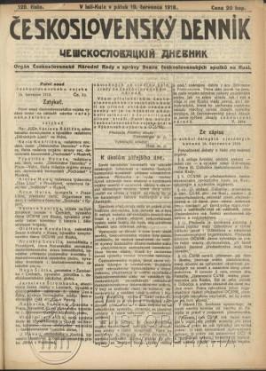 Československý denník z 19. července 1918