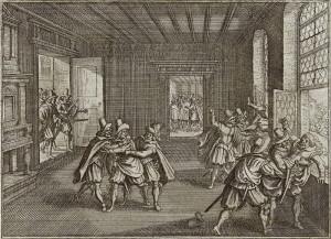 """Pražská defenestrace 23. května 1618 na rytině v dobové """"evropské kronice"""" Theatrum Europaeum."""