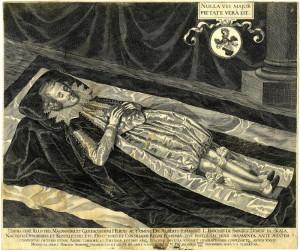 Albrecht Jan Smiřický (1594–1618) na smrtelné posteli, jeden z nejbohatších českých šlechticů, v jehož paláci se odehrála spiklenecká schůzka 22. května 1618.
