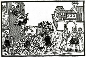 Pražská defenestrace 23. května 1618 na dřevořezu z dobového holandského letáku.