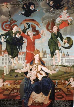 Slavatův votivní obraz zobrazující Pannu Marii, která zachytává defenestrované místodržící.