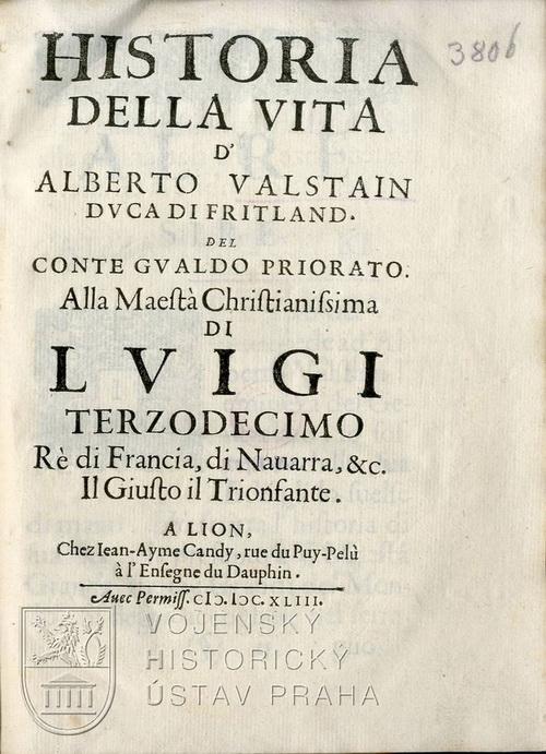 GUALDO PRIORATO, Galeazzo. Historia della vita d'Alberto Valstain duca di Fritland