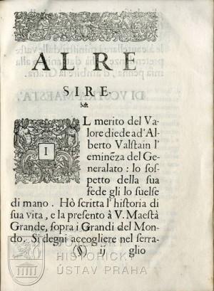 Začátek dedikace knihy francouzskému králi Ludvíkovi XIII.