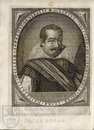 Portrét Albrechta z Valdštejna vevázaný do exempláře.