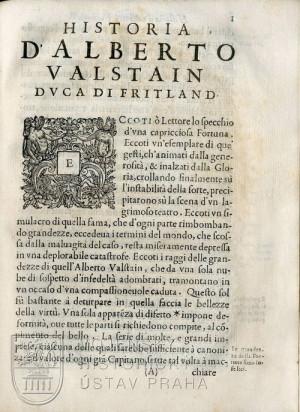 Začátek hlavního textu Valdštejnova životopisu.