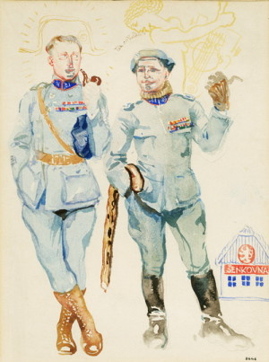 Otakar Husák (vlevo) na karikatuře Františka Kupky, 1918 (VHÚ Praha)