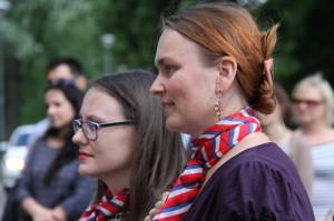 Spoluautorky výstavy Marcela Janouchová (vlevo) a Kateřina Pohlová z České obce sokolské