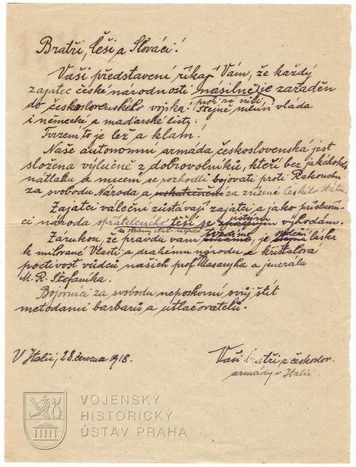 Ručně psaný leták z italské fronty, 1918