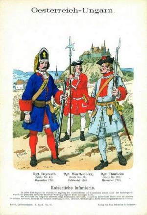 Císařská pěchota za válek o španělské dědictví podle Richarda Knöttla.