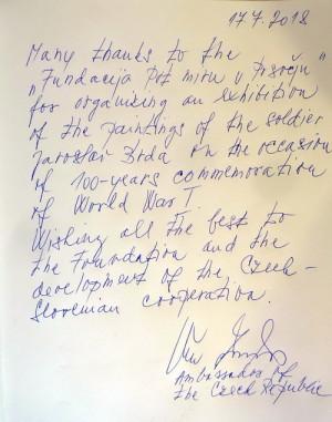 Zápis velvyslankyně České republiky v návštěvní knize (FPM)
