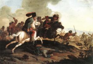 Boj uherských husarů s císařským jezdectvem během Rákócziho povstání