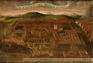 Kurucký útok na Uherský Brod roku 1704. Dobový obraz z webových stránek obce Uherský Brod.