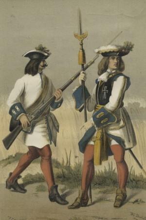 Mušketýr a nejvyšší strážmistr pěšího pluku Teutschmeister, který bojoval proti Rákócziho kurucům i roku 1708 v bitvě u Trenčína.