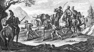 Kuručtí jezdci odvádějí zajatého císařského vojáka.