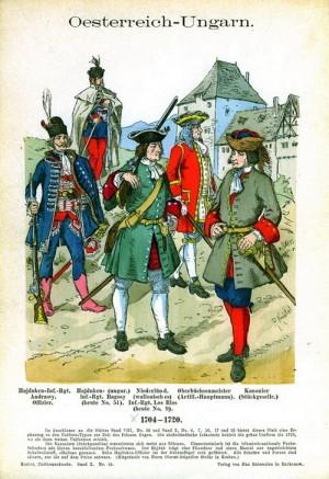 Císařské pěchota, včetně loajálních uherských hajduků (vlevo), za válek o španělské dědictví podle Richarda Knöttla.
