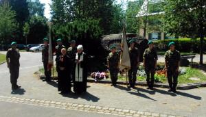 Pietní akt dopoledne 2. července 2018 u Husova kamene v Kostnici, na místě, kde byli, podle tradice, upáleni mistr Jan Hus a mistr Jeroným Pražský