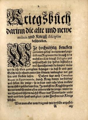Začátek Dilichova Kriegsbuchu.