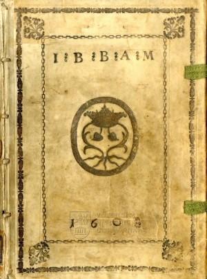 Přední deska knihy s aliančním supralibros Jaroslava Bořity a jeho manželky.