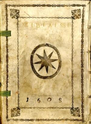 Zadní deska s aliančním supralibros – zde odkaz na manželku Jaroslava Bořity Marii Eusebii.
