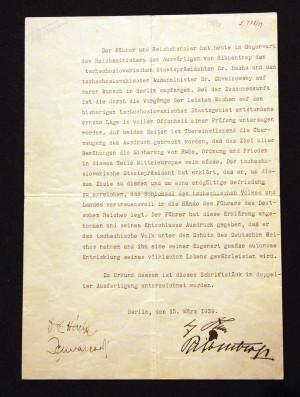 Protokol o jednání prezidenta Emila Háchy s Adolfem Hitlerem v Berlíně 15. března 1939