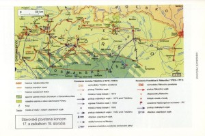 Mapka zaznamenávající hlavní bojové operace Thökölyho a Rákócziho povstání.