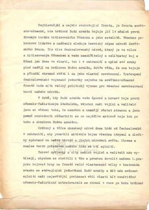 Žádost vojáků 1. čs. samostatného polního praporu o odeslání na frontu