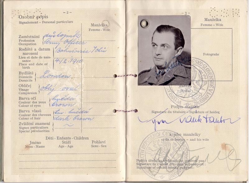 Cestovní pas Dalibora Kalíka, 1944