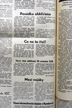 Zvláštní číslo okresních novin Nymbursko, na straně dvě přineslo zprávy o postojích čs. vojáků v Milovicích-Mladé.