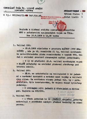 Hlášení z konce srpna 1968 dosvědčuje snahu sovětských velitelů zabírat objekty ČSLA. Jedna ze zmínek naznačuje jakým způsobem se to dělo v posádce Milovice-Mladá. (VHA)