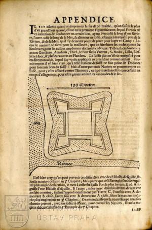 Závěrečná část publikace s ilustrací čtvercové pevnůstky.