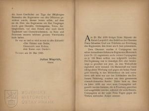 Začátek knihy o zřízení pluku z 6 kompanií pluku Metternichova (č. 11).